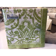 Serviettes en papier St-Tropez col.4 vert, dim.33x33cm,  Beauvillé