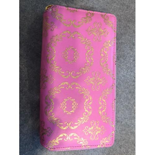 porte-monnaie DESIGNERS GUILD - cuir rose, motifs or 10 x 19 cm