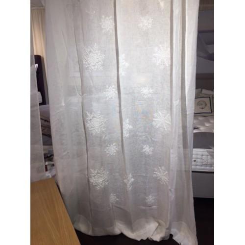 PANNEAU de rideau en lin blanc et flocons brodés 210x290 MASTRO RAPHAEL
