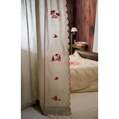 PANNEAU de rideau Tenda Crans en lin écru avec broderies rouges motifs montagne, dim. 210x260cm,  Mastro Raphael