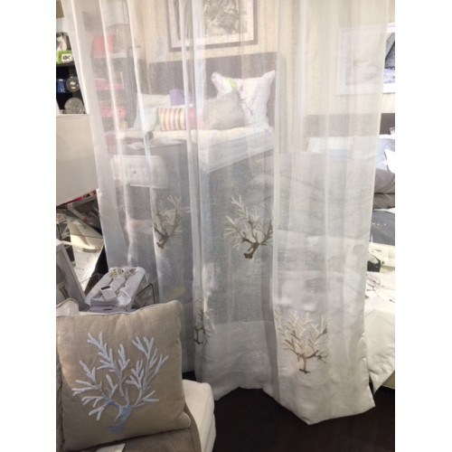 Panneau de rideau en  lin blanc  et corail brodé beige  210x290 MASTRO RAPHAEL