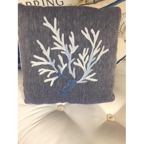 Coussin Corail col.bleu marine en lin, dim.40x40cm, de Mastro Raphael