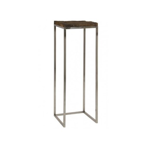 TABLE d'appoint DANSVILLE, acier et plateau vieux bois, 40 x 40 x 120 cm ,Light & Living