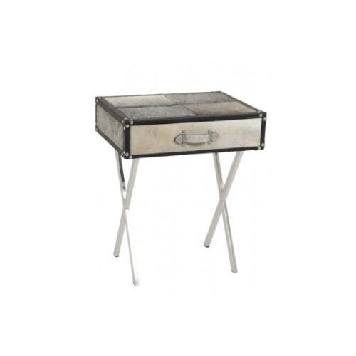 Table pied X acier RICERCA, avec 1 tiroir peau de vache gris 50 x 40 x 60 cm ,Light & Living