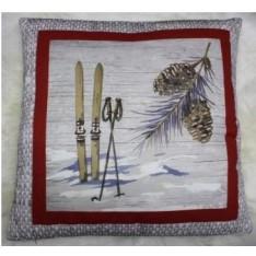 cushion HORCIERES with ibex grey-beige, 45 x 45 cm Indigo Diffusion