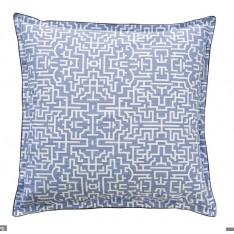 TAIE d'oreiller Dédale bleu-blanc, motifs labyrinthe, dim.50x75cm, Alexandre Turpault