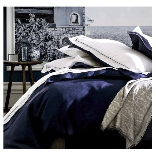 taie d'oreiller  ALEXANDRE TURPAULT- BASTIDE blanc-marine 65x 65 cm