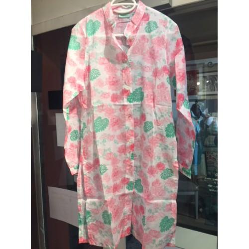 Chemise ASSIA Peony T2 (36) blanc avec motifs fleurs roses et vert d'eau,  Manuel Canovas
