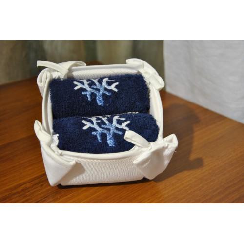 set de 2 lavettes MASTRO RAPHAEL - CORALLI (2 x 30 x 40 cm) col marine broderie bleu-blanc