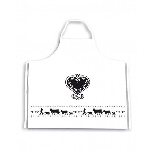 Tablier La Montée à l'Alpage réf.20-4075 col.blanc et noir, dim.90x90cm, Steinlin