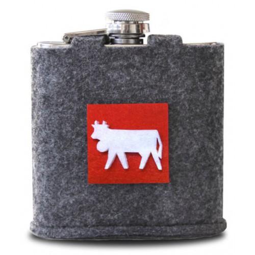 FLASQUE à liqueur avec housse motif vache réf 10.04.0017 col.gris, Steinlin