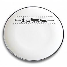 Set de 6 assiettes La Montée à l'Alpage, réf. 20.05.0047, col.blanc et noir, diam.28cm, Steinlin