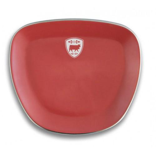 Assiette à fondue rouge avec décor vache, 23 cm, réf. 20.03.0006,  Steinlin