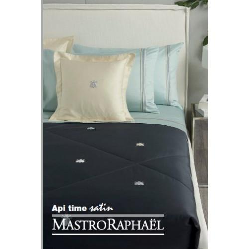 TAIE d'oreiller API TIME 65 x 65 cm turquoise avec 4 lignes brodées col M7-7N, Mastro Raphaël