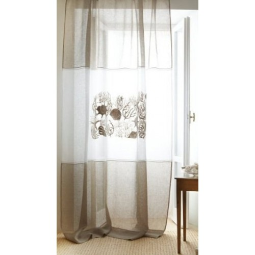 rideau MASTRO RAPHAEL-AQUARIO lin 210 x 290 cm avec attaches dans le haut col 83 beige-turquoise