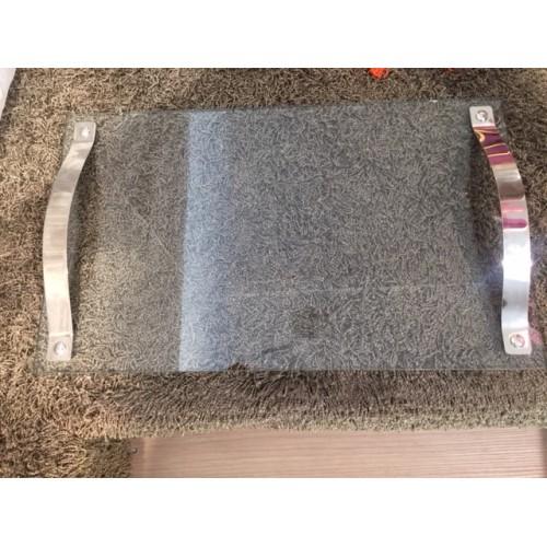 PLATEAU verre AULICA avec poignées en chrome de 30 x 50 cm
