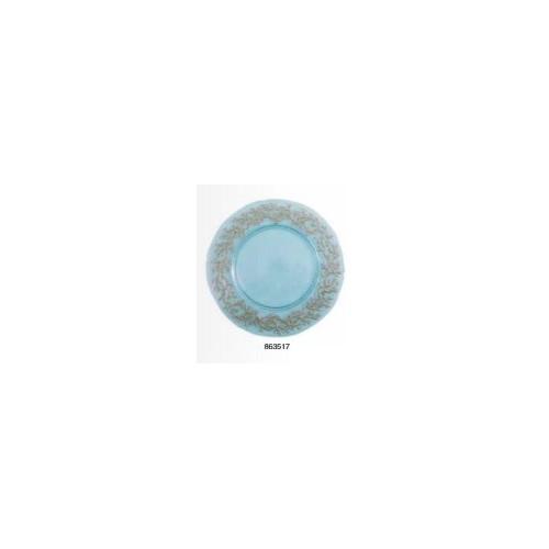 Dessous d'assiette en verre turquoise avec bord corail doré, diam. 33 cm, réf. 863517, Aulica