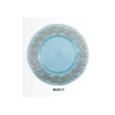ASSIETTE en verre turquoise avec bord corail doré, diam. 33 cm, réf. 863517, Aulica