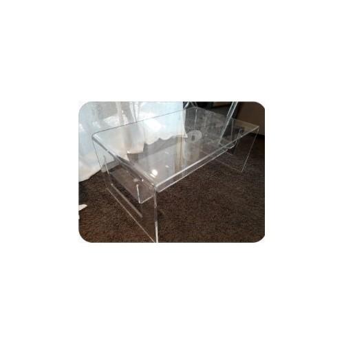table de nuit plexi VESTA - VEGA avec étagère col gris 40 x 31/haut. 55 cm