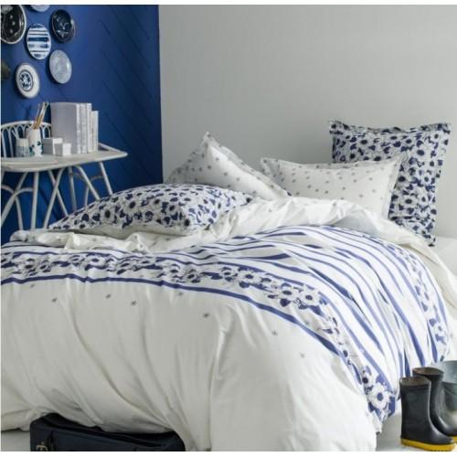 TAIE d'oreiller Belle Ile bleu-blanc avec fleurs , dim.65 x 65 cm, Essix