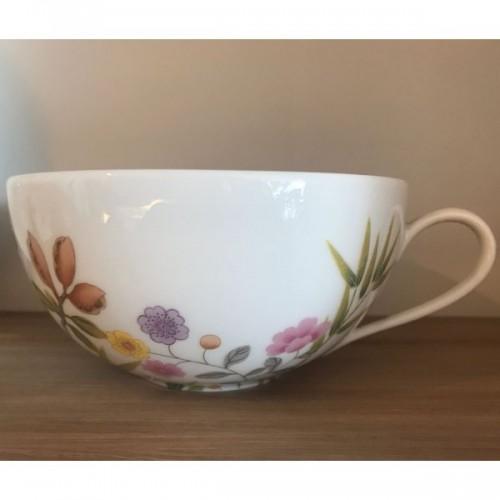 1 tasse et soucoupe à déjeuner RAYNAUD - PARADIS blanc/turquoise diam.21,5 et 14 cm