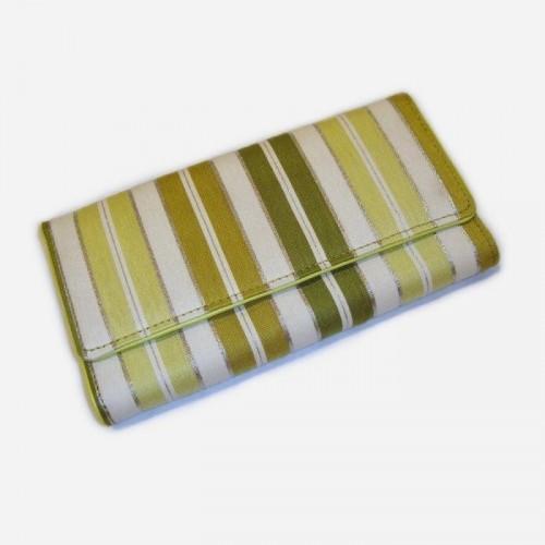 PORTE-MONNAIE dame tissu et cuir rayé vert-crème Designers Guild