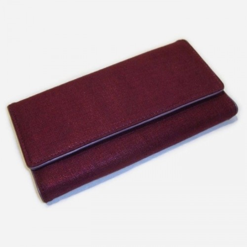 PORTE-MONNAIE dame tissu et cuir. Violet. Designers Guild STATIONERY