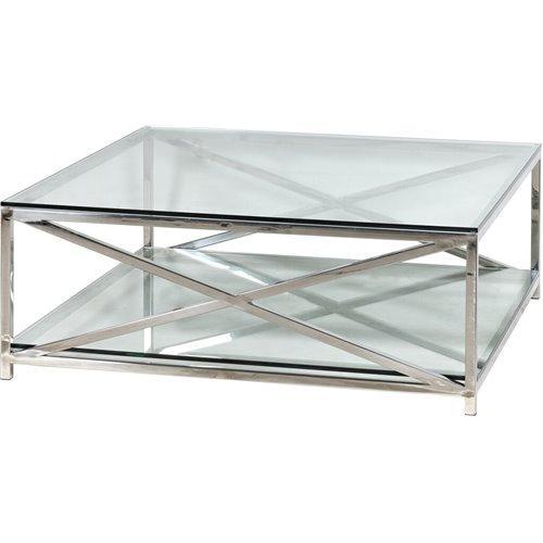 Manhattan 120 Rectangular Coffee Table - Metal & Glass