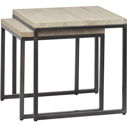 Carter 50 Square Nest of 2 Tables - Metal & Oak