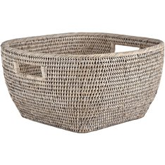 Ashcroft Soft Square Basket - 33x33cm - Silver Reed