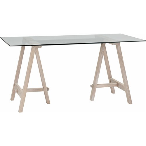 Hebden 150 Rec Trestle Table - Glass Top & Chalked Oak Legs