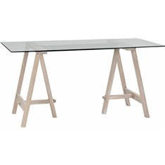 Hebden 150 Rec Trestle Table - Glass Top & Chalked Oak Legs