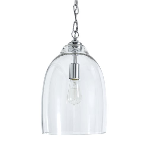 Shaftesbury Chrome Glass Pendant - Small