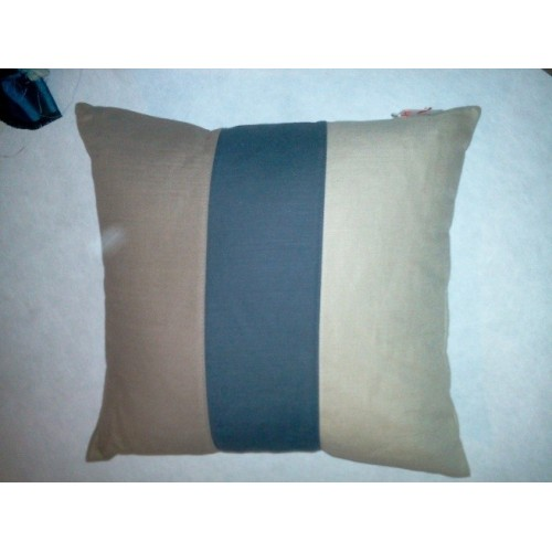 Housse de coussin rayé col.taupe/marine/beige, dim.40x40cm, Boussac