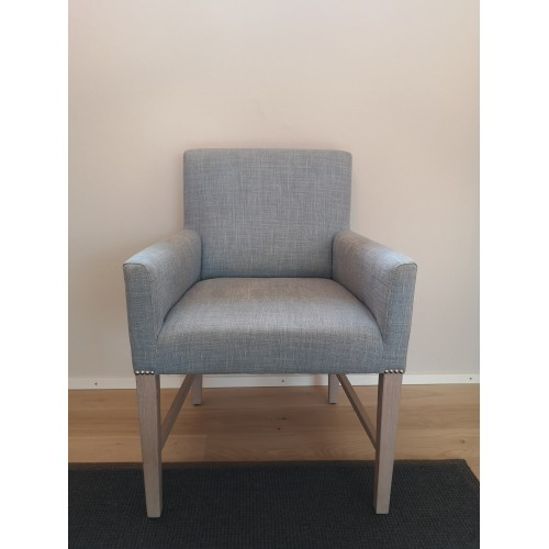 Shoreditch Carver Chair- Harry Flax Blue- Pale oak legs