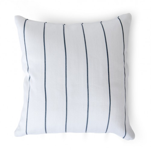Evie Pin Stripe Outdoor Cushion 45x45cm - Flax Blue
