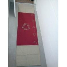 Bout de lit Marjolaine col.beige et rouge, dim.250x65cm, Autrement Dit