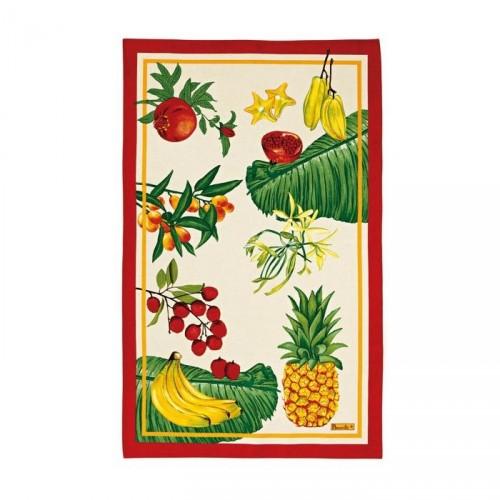 Torchon Fruits Exotique, coton lin, de Beauvillé