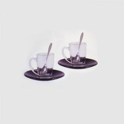 SET de 2 tasses en verre transparente, sous-tasses noir en verre et cuillères, Aulica